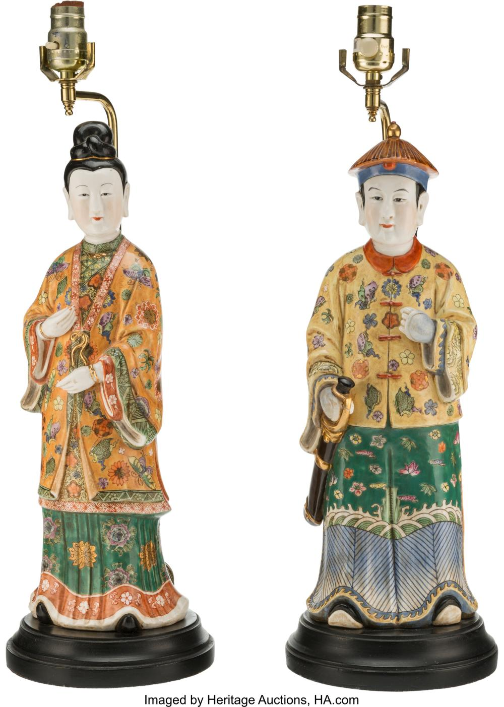 Lot 21294: A Pair of Chinese Partial Gilt Porcelain Figural Lamps, 20th century 24-1/2 x 7-