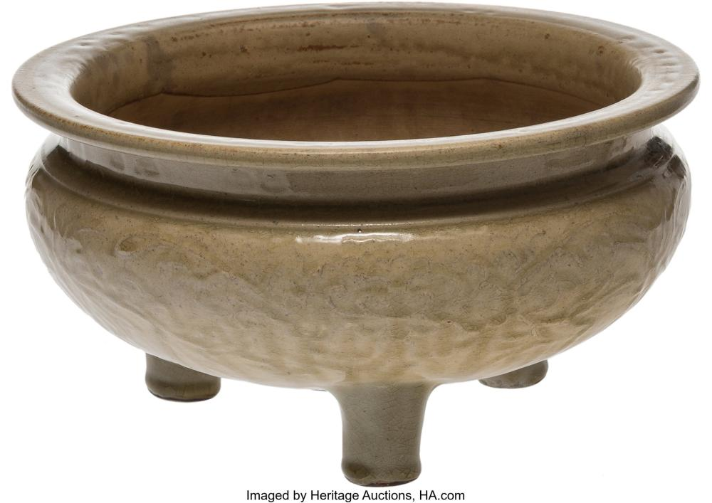 Lot 21306: A Chinese Incised Celadon Porcelain Tripod Censer, late Ming Dynasty 5-1/4 x 9-7