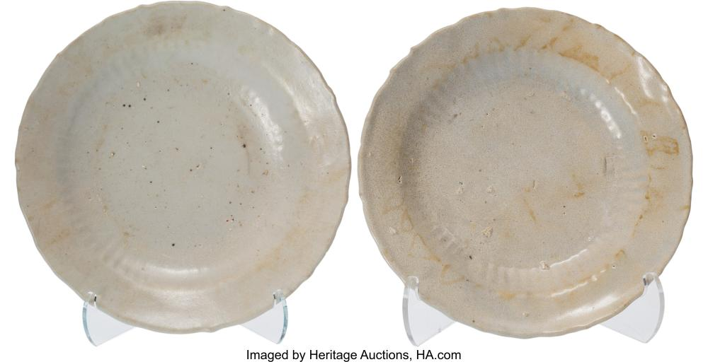 Lot 21307: A Near Pair of Chinese Porcelain Plates, Ming Dynasty 1-1/2 x 7-1/2 x 7-1/2 inch