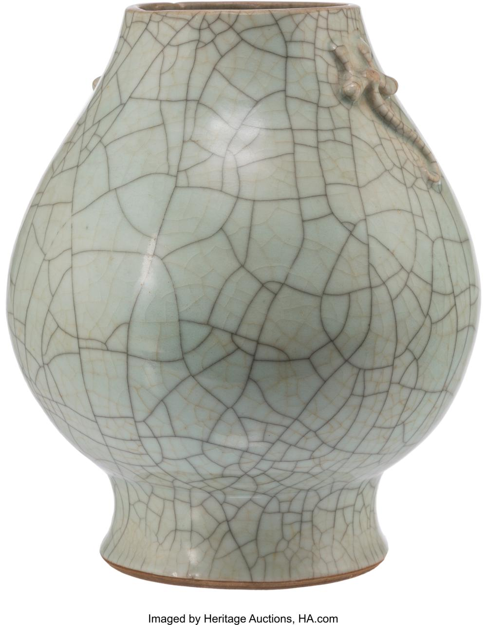 Lot 21310: A Chinese Porcelain Ge Ware Vase, 18th century 10-3/4 x 8-1/2 x 8-1/2 inches (27