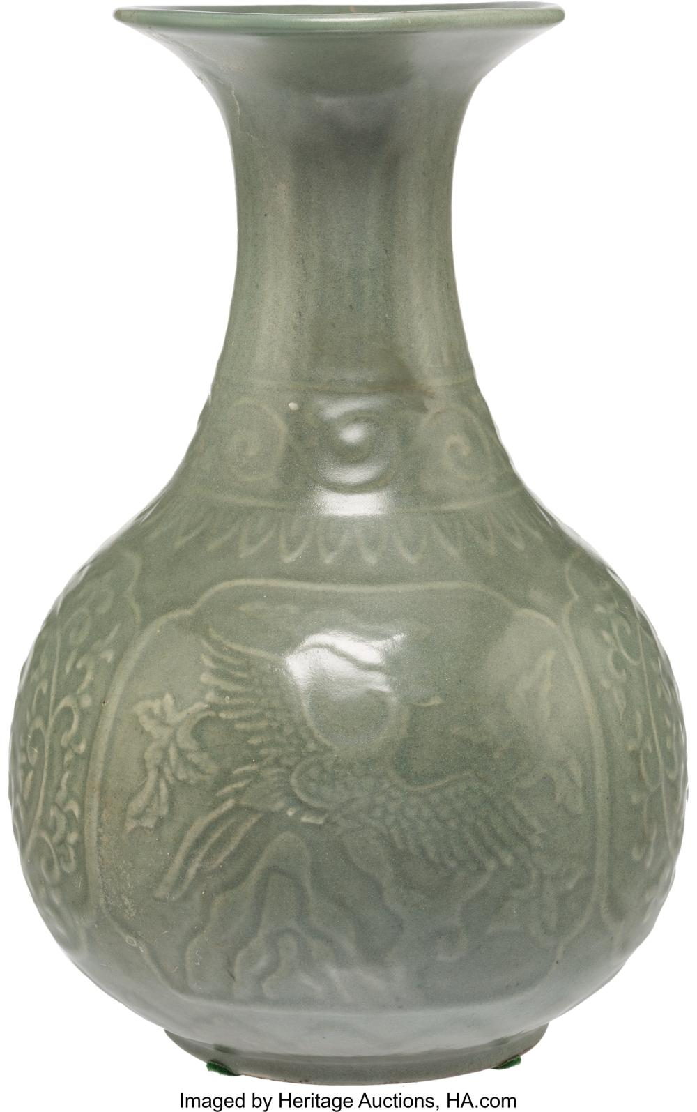 Lot 21302: A Chinese Celadon Porcelain Yuhuchunping Vase, late Qing Dynasty, Republic Perio