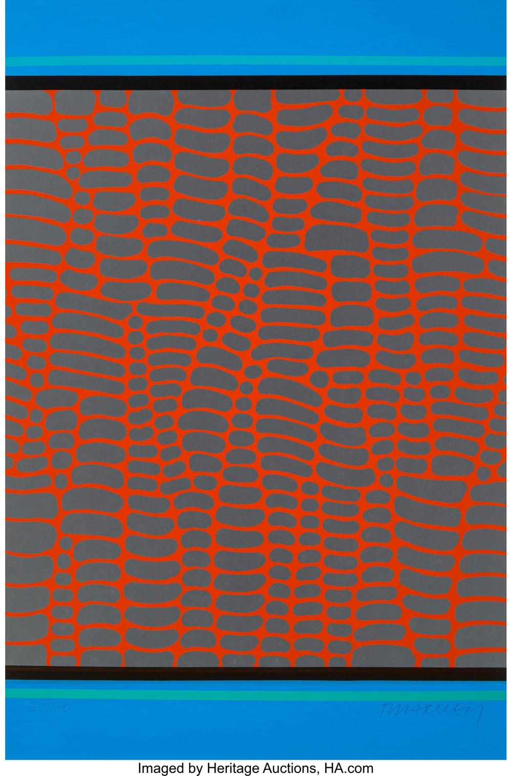 Lot 21321: Paul Maxwell (b.1925) Untitled - Red and Blue Web, 1978 Serigraph in colors on w
