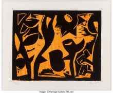 Lot 21338: Charlie Hewitt (b. 1946) Untitled-G, c. 1980 Woodblock print in colors on paper
