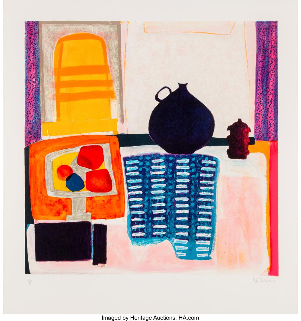 Lot 21328: Wendy Chazin (20th century) Blue Pitcher on Tablecloth, c. 1975 Lithograph in co