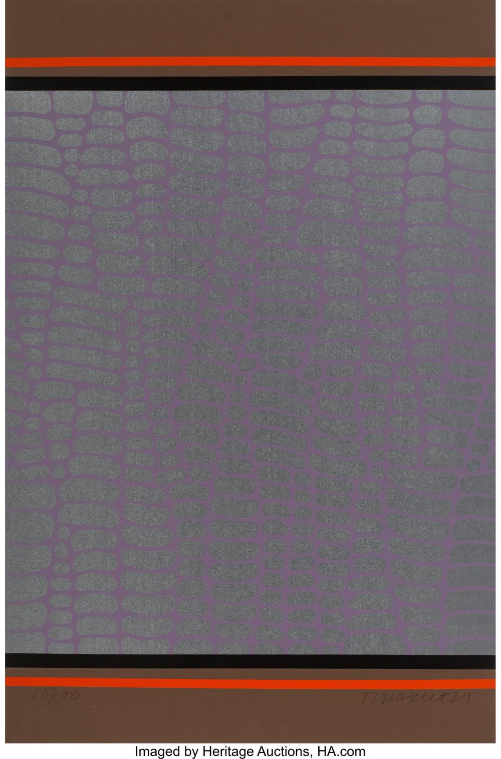 Lot 21339: Paul Maxwell (b.1925) Untitled (Purple and Brown Web), 1978 Screenprint in color