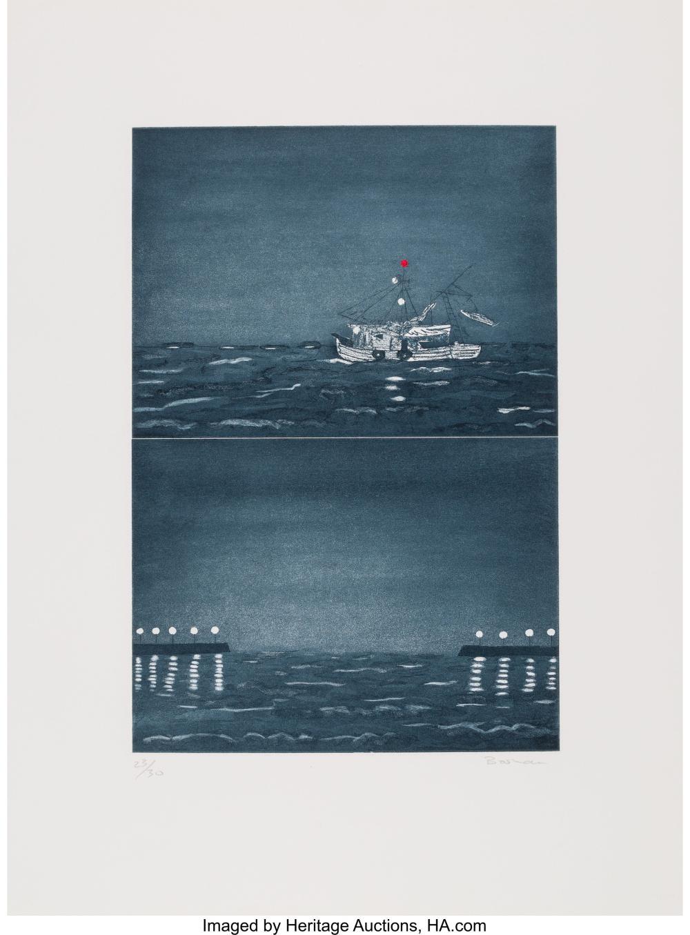 Lot 21327: Richard Bosman (b. 1944) Homeward Bound, 1990 Mezzotint in colors on wove paper