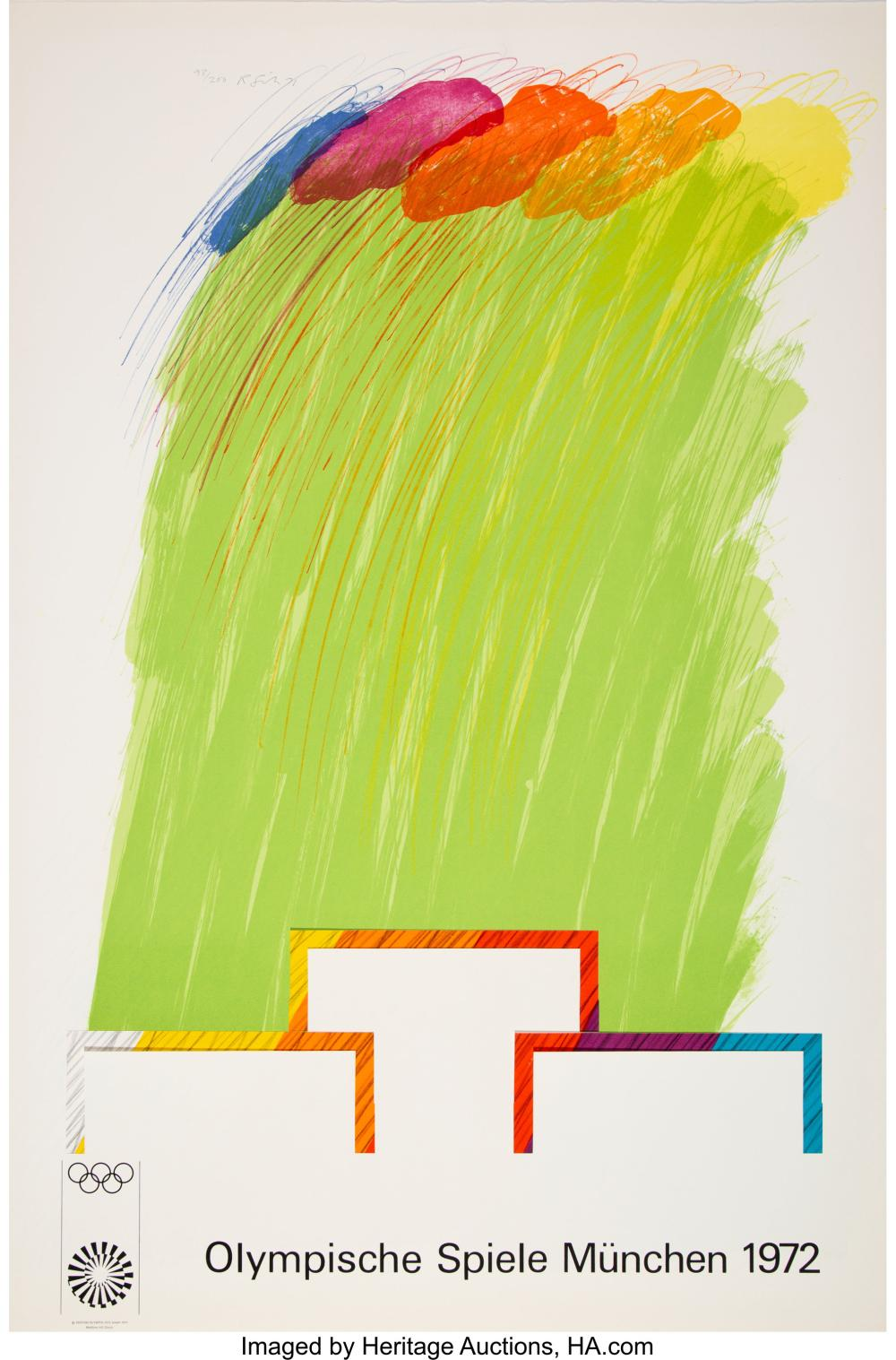Lot 21332: Richard Smith (b. 1929) Munich Olympics 1972, 1971 Lithograph and collage in col