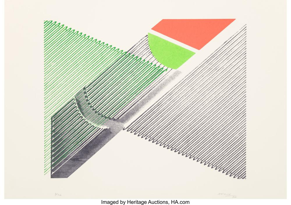 Lot 21336: Michael Argov (1920-1982) Untitled 3, 1970 Screenprint in colors on paper 19-1/2