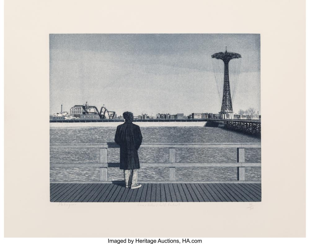 Lot 21325: Max Ferguson (b. 1959) Coney Island - Self-Portrait Etching and aquatint on Arch