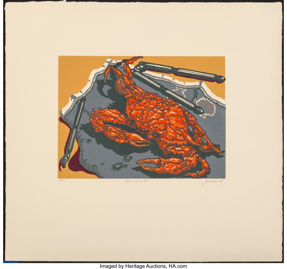 Lot 21352: Jack Beal (1931-2013) Blue Crab, c. 1975 Silkscreen in colors on Umbrian paper 9