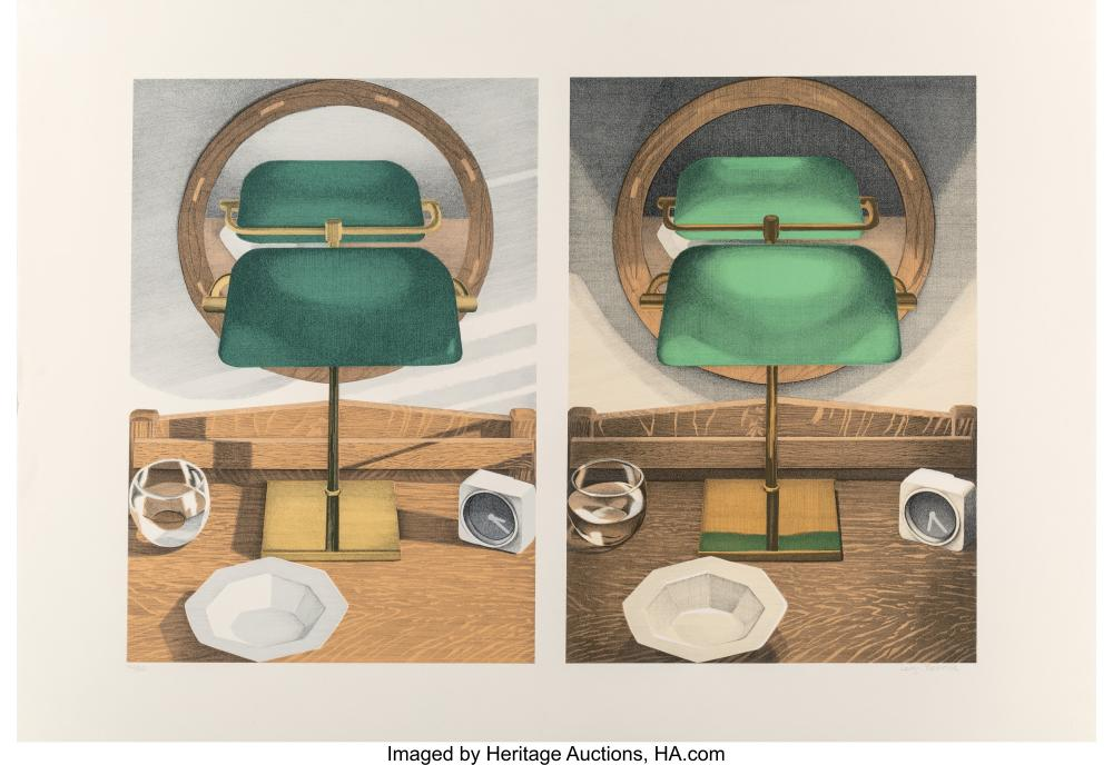 Lot 21345: Leigh Behnke (b. 1946) Light Study with Mirror #1, 1981 Lithograph in colors on