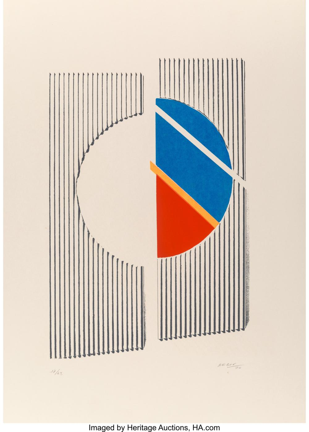 Lot 21344: Michael Argov (1920-1982) Untitled 2, 1970 Serigraph in colors on wove paper 27-