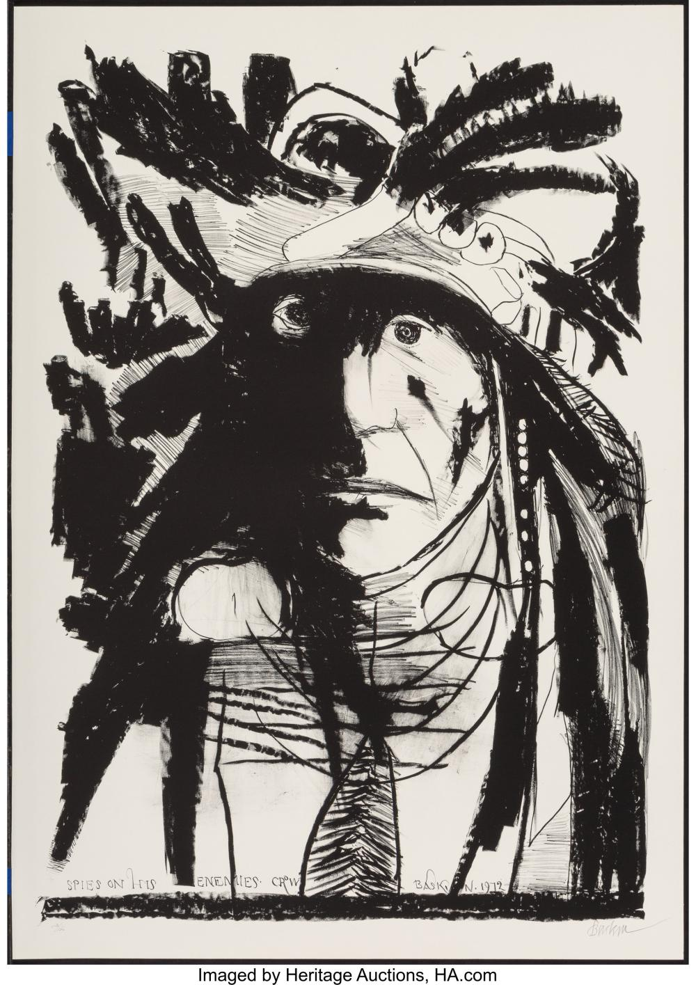 Lot 21351: Leonard Baskin (1922-2000) Spies on his Enemies - Crow, 1972 Lithograph on paper