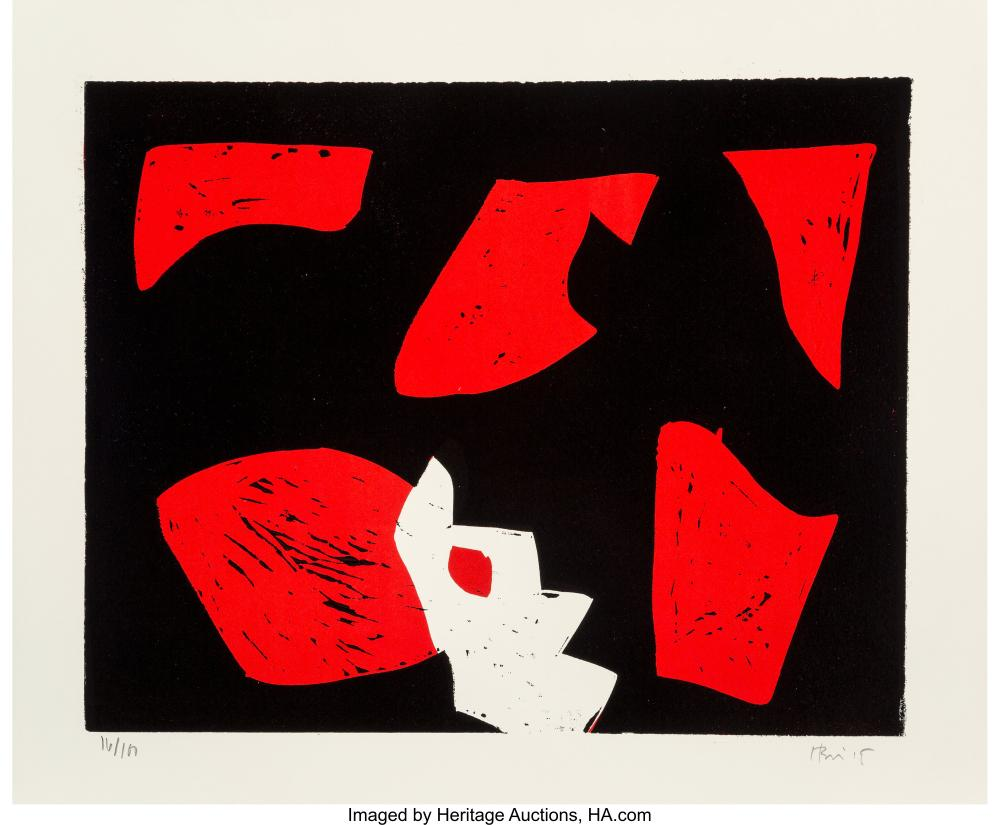 Lot 21348: Charlie Hewitt (b. 1946) Untitled, c. 1995 Woodcut in colors on wove paper 20 x