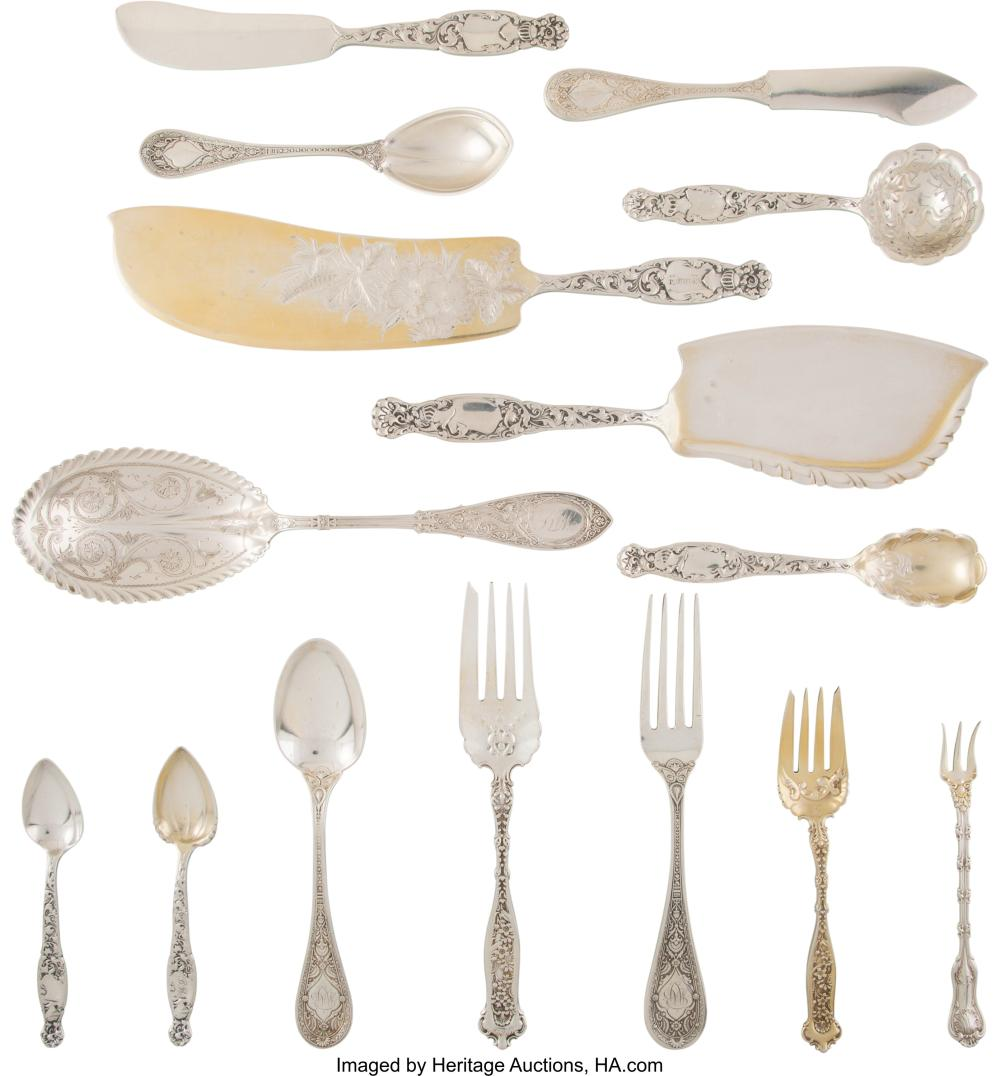 A Forty-Piece Whiting Manufacturing Company Assembled Silver Flatware Service, P