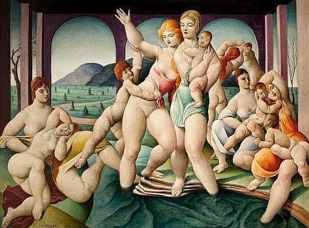 LORSER FEITELSON (American, 1898-1978) Bathers, 1923 Oi