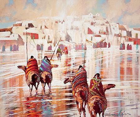 B.C. NOWLIN (American, b. 1949) Indian Riders Approachi
