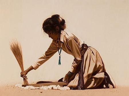 LARRY RILEY (American, b. 1947) Navajo Girl, 1987 Oil o