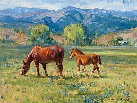 LOREN ENTZ (American, b. 1949) Pair of Landscapes: Lazy