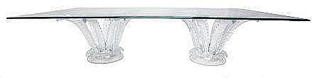 MARC LALIQUE GLASS DOUBLE PEDESTAL CACTUS TABLE WITH UN