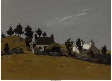 KYFFIN WILLIAMS (BRITISH, 1918-2006) WELSH FARM BUILDINGS UNDER A GREY SKY OIL O