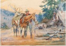 PHILIP RUSSELL GOODWIN (AMERICAN, 1882-1935) THE HUNTER WATERCOLOR AND PENCIL ON