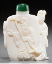 A CHINESE CARVED OPAL FIGURAL SNUFF BOTTLE, 20TH CENTURY 2-1/4 INCHES HIGH (5.7
