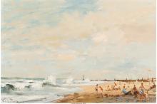ROY PETLEY (BRITISH, B. 1950) NORFOLK BEACH OIL ON MASONITE 12 X 18 INCHES (30.5