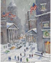 Christopher Willett (American, b. 1959) Wall Street and Broad N.Y.C. Oil on canv