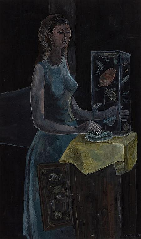 KELLY FEARING (American, 1918-2011) Lady with Aquarium,