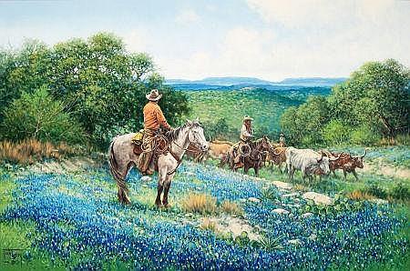JACK TERRY (American, b. 1952) Hoof Deep in Springtime,