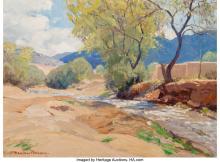 Sheldon Parsons (American, 1866-1943) Adobe on Tesuque River Oil on Masonite 12