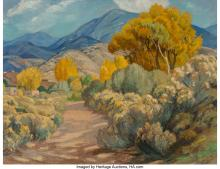 Sheldon Parsons (American, 1866-1943) Quiet Path along the Sagebrush and Cottonw