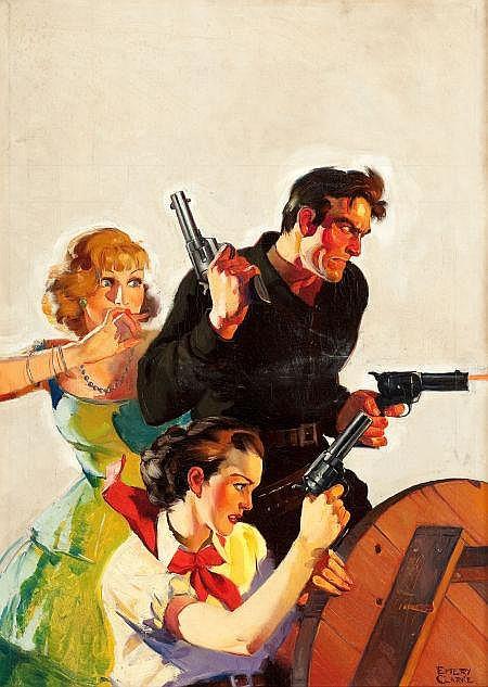 EMERY CLARKE (American, d. 1990) Cowboy with Two Women,