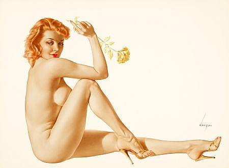 ALBERTO VARGAS (American, 1896-1982) Gold Carnation (Le