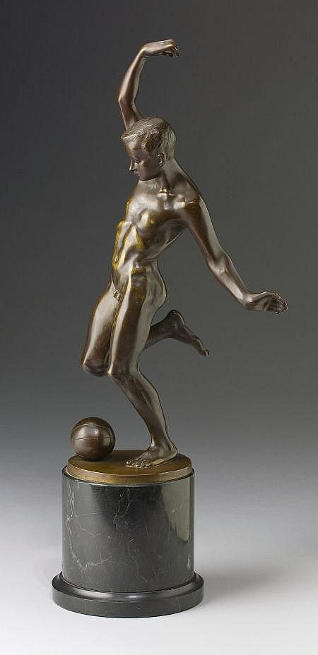 MARTIN GÖTZE (German, 1865) Nude Playing Football