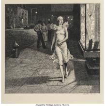 Martin Lewis (American, 1881-1962) Night in New York, 1932 Etching on paper 8-3/
