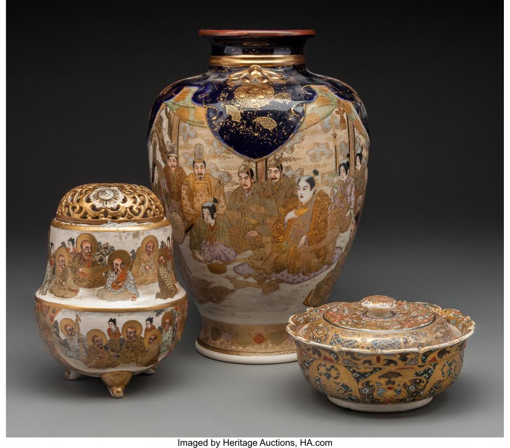 A Three-Piece Group of Japanese Satsuma Pottery, Meiji-Taish