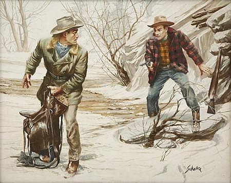 HARRY SCHAARE (American b.1922) The Outlaws,