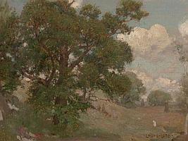 LOUIS LOEB (American, 1866-1909) Pastoral Landscape Oil