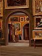 AMERICAN SCHOOL (19th Century) Studio Interior Oil on c