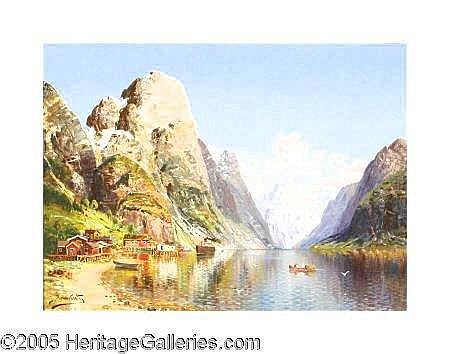 1883 (M16)  JOSEPH HOLMSTEDT (Austrian 1841-1918)  Village on a Fjord Oil on canvas 29in. x 39in. Signed lower left