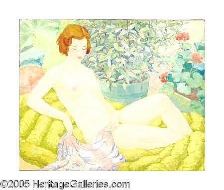 1875 (M8) WILLIAM HENRY KEMBLE YARROW (American 1891-1941) Nude in a Garden Oil on canvas 26in. x 32in. Signed lower right William Yarrow was an acclaimed muralist in the early 20th century. He was trained in an academic style at the Pennsylvania