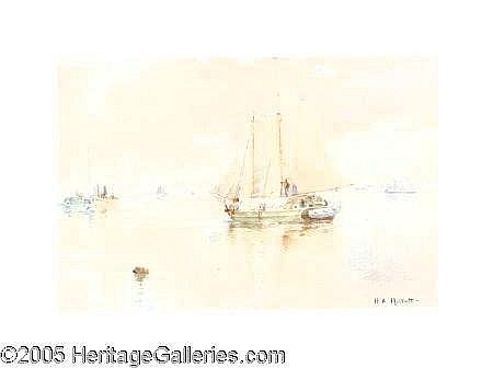 1877 (M10)  HENDRICKS A HALLETT (American 1847-1921)  Sailing Into Harbor Watercolor on paper 11in. x 16in. Signed lower right