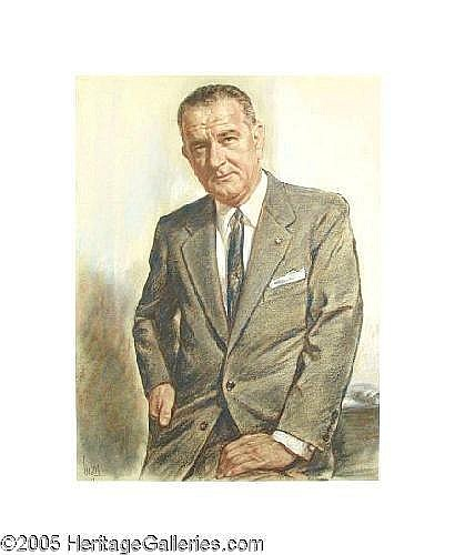 ONE RIN LOUIS LUPAS (American 1963-1969) President Lyndon Baines Johnson Pastel on paper 30in. x 23.5in. Signed lower left LBJ posed for this portrait in person, while President. A black and white copy of a 1980 The Blood-Horse magazine article on