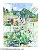 CHARLES BERNINGHAUS (American 1905-1988)  Hollyhocks Oil on canvasboard 20in.x 16in. Signed lower right, Charles Berninghaus, Click for value