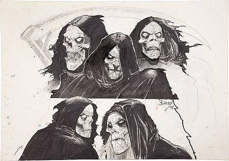 Simon Bisley Grim Reaper Studies Original Art (2003).