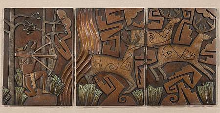 TAMMY GARCIA (American, b.1969) Deer Hunt Triptych Bron