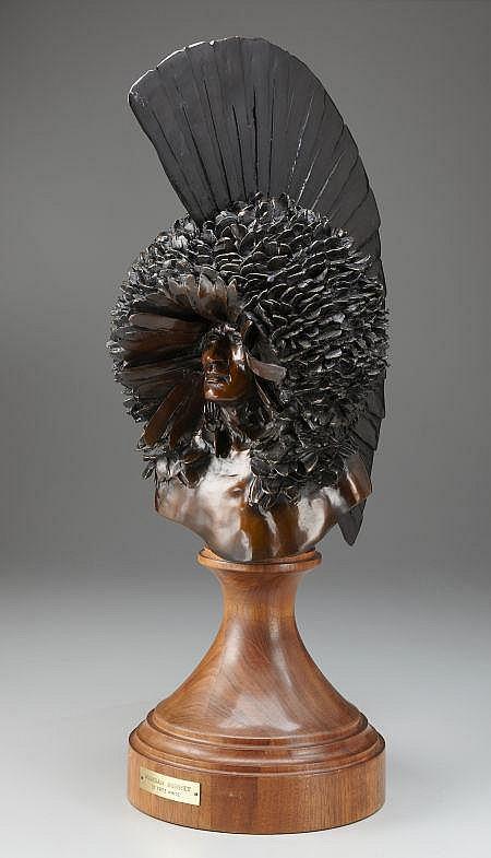 FRITZ WHITE (American, b.1930) Mandan Bonnet Bronze 28