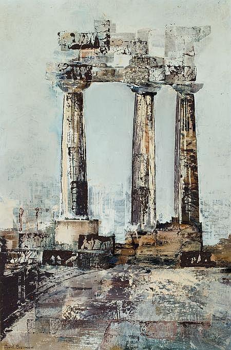 DAVID BROWNLOW (American, 1915-2006) Three Columns  Oil